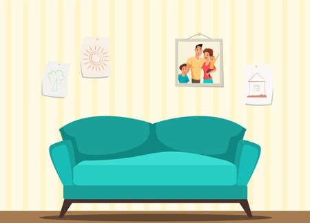 Living room modern interior vector illustration