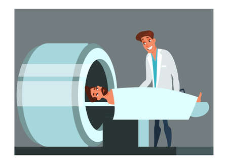 MRI scanning flat vector illustration