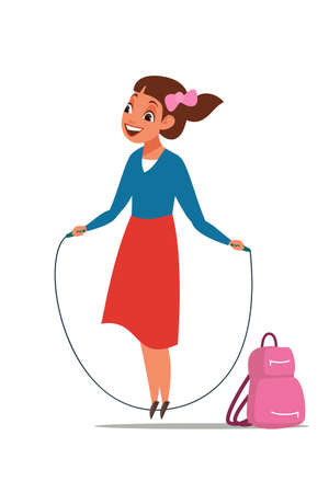Schoolgirl skipping vector illustration. Young cheerful girl with jumping rope alone flat isolated clipart. Schoolchild wearing school uniform character. Cheerful pupil on break. Woman exercising