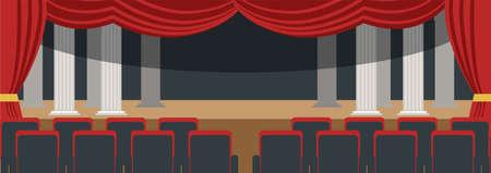 Empty theater hall flat vector illustration Stock Illustratie