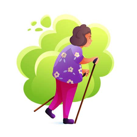 Senior woman nordic walking flat illustration  イラスト・ベクター素材