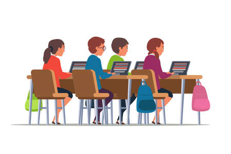 Pupils at school flat illustration