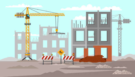 Building construction flat vector illustration Иллюстрация