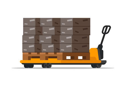 Warehouse forklift with boxes flat illustration isolated on white background Foto de archivo - 130530045