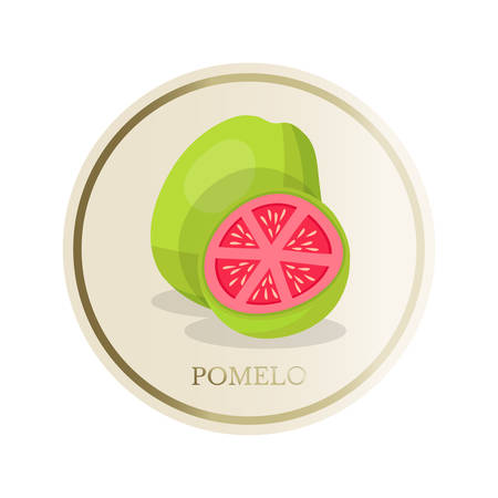 Pomelo flat circle sticker isolated on white background