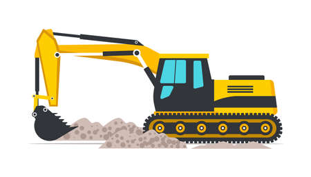 Excavator flat vector illustration. Road works, building construction. Professional heavy machinery isolated design element. Yellow industrial backhoe digging ground with bucket cartoon clipart Vetores