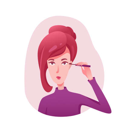 Girl applying mascara flat illustrations