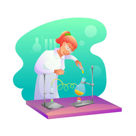 Biochemist making research flat character. Chemist experimenting vector illustration. Student at chemistry lesson. Scientific, medical laboratory, lab testing. Chemicals, toxic liquid in tubes