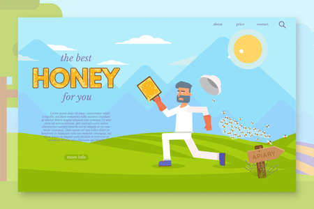 Man running away from bee swarm landing page flat template