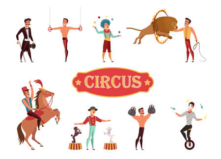 Circus performance flat vector illustration isolated on white background