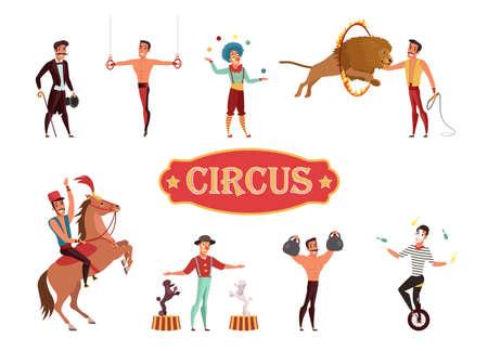 Zirkusvorstellung flachbild Vector Illustration isoliert auf weißem Hintergrund
