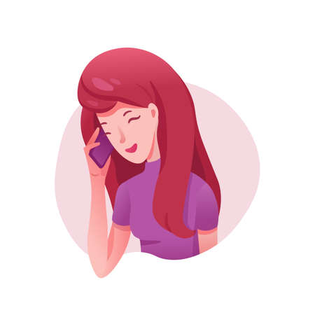 Girl talking on phone flat illustrations. Happy woman chatting with boyfriend vector character. Smiling, laughing teenager gossiping with girlfriend. Businesswoman having phone call isolated clipart Çizim