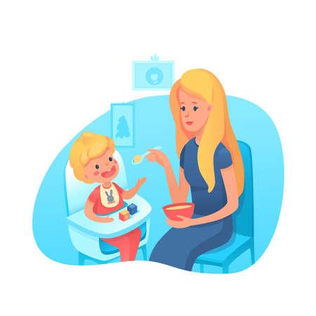 Mother feeding toddler with spoon illustration Ilustração