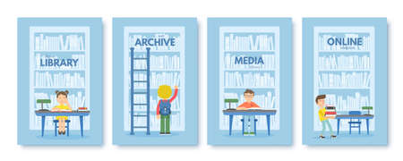 Media library brochure vector templates set