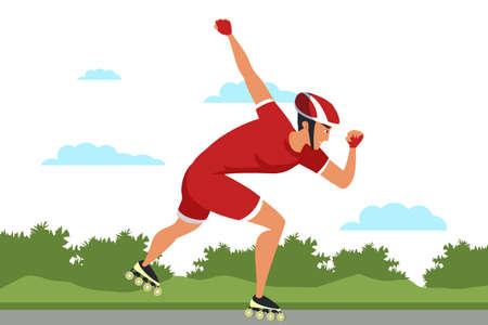 Roller skating sport flat vector illustration isolated on white background
