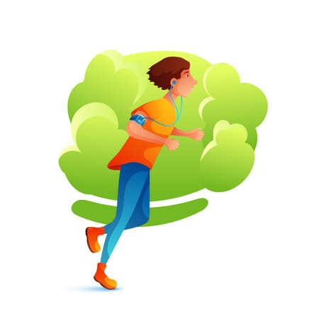 Jeune homme jogging personnage plat. Sportif qui court à l'extérieur. Mode de vie sain. Coureur avec écouteurs et lecteur de musique portable. Formation de joggeur dans l'illustration de dessin animé de parc. Exercice cardio