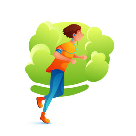 Young man jogging flat character. Sportsman running outdoors. Healthy lifestyle. Runner with earphones and portable music player. Jogger training in park cartoon illustration. Cardio exercising
