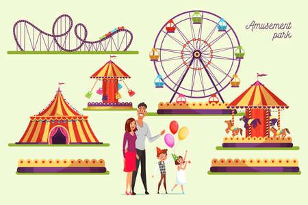 Amusement park attractions illustrations set Иллюстрация