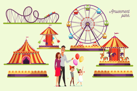 Amusement park attractions illustrations set Ilustração