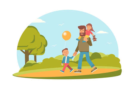 Young father with son and daughter flat characters. Parenting, fatherhood vector illustration. Dad piggybacking toddler isolated clipart. Parents and kids leisure activities, pastime. Family time