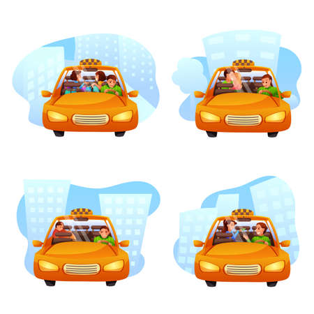 Taxi ordering flat vector illustrations set isolated on white background