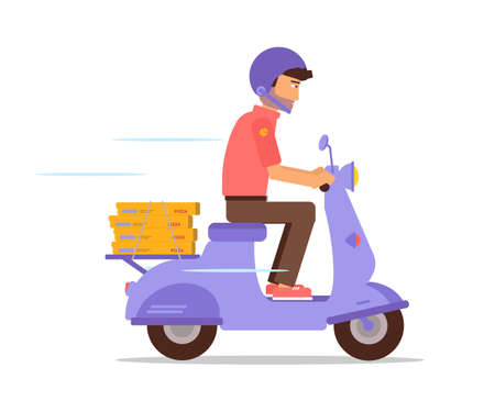 Pizza courier on motorbike flat character Çizim