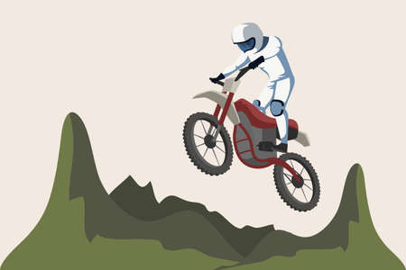 Motorcycle sport flat vector illustration isolated on white background Çizim