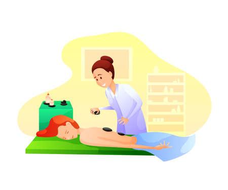 Stone massage flat vector illustration isolated on white background  イラスト・ベクター素材