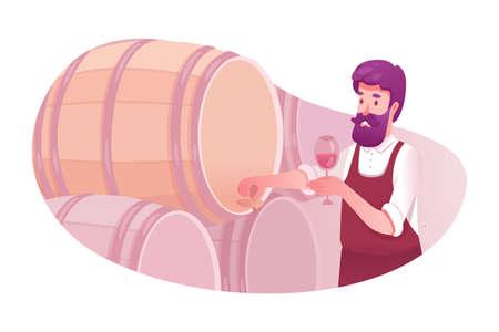 Man tasting wine from barrel vector illustration