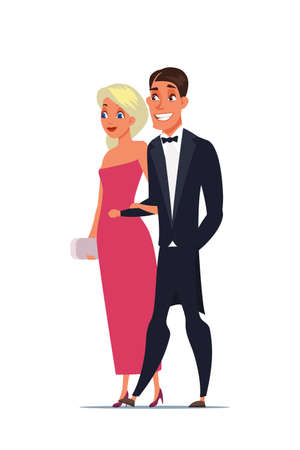 Man and woman wearing luxury outfits characters Иллюстрация