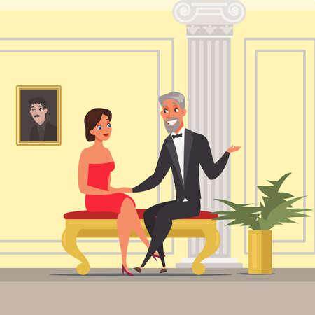 Man and woman having date illustration  イラスト・ベクター素材