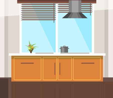 Wooden kitchen with window flat vector illustration