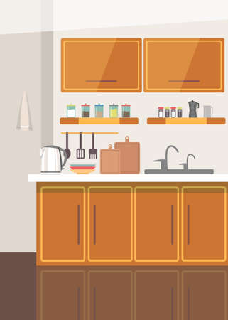 Wooden kitchen corner flat vector illustration