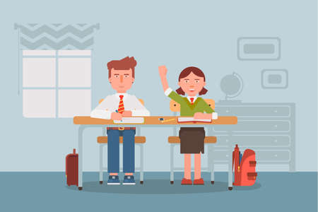 Children in classroom flat vector illustration. Schoolboy and schoolgirl in uniform cartoon characters. Diligent elementary school pupils, exemplary students. Classmates at lesson, girl raising hand