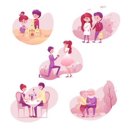 Romantic relationship stages illustrations set isolated on white background
