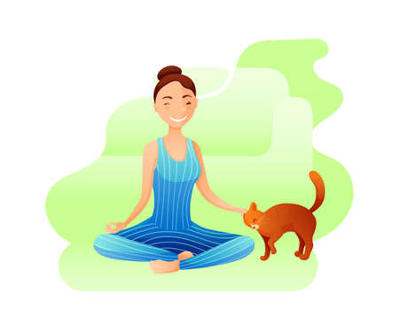 Young girl in yoga lotus pose flat illustration Çizim