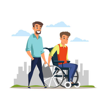 Handicap nursing, help flat vector illustration. Young man and disabled brother in wheelchair cartoon characters. Caregiver, family moral support. Disability rehabilitation, invalid people assistance
