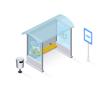 Empty bus stop isometric vector illustration isolated on white background