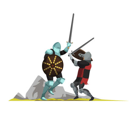 Medieval warriors flat vector illustration isolated on white background