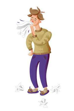 Young man sneezing flat character Illustration
