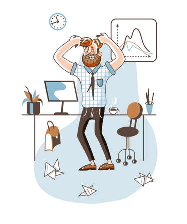 Angry office worker flat vector illustration Illustration