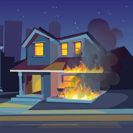 Two-storey house on fire vector illustration