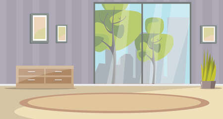 Empty living room interior flat illustration. Wooden chest of drawers and foliage houseplant drawing. Frames hanging on wall. Modern cityscape and trees view from apartment room window Иллюстрация