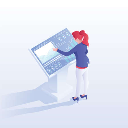 Woman studying data vector isometric illustration. Financial analyst analysing stock market statistics cartoon character. Businesswoman working with interactive screen. Investment strategy development 向量圖像