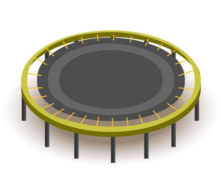Round trampoline isometric vector illustration Illustration