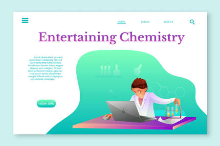 Entertaining Chemistry landing page layout. Chemist making experiment flat character Иллюстрация