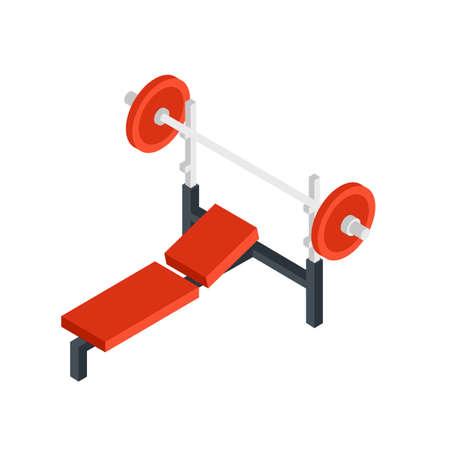 Weight lifting equipment isometric illustration 向量圖像