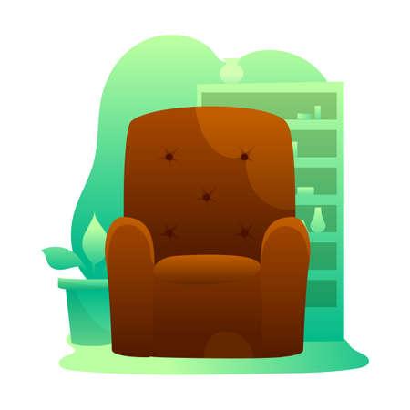 Brown armchairs flat illustrations set