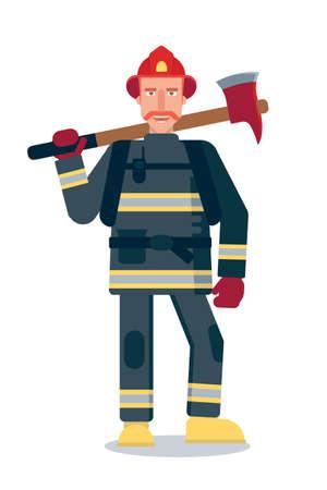 Firefighter holding axe flat vector illustration Illusztráció