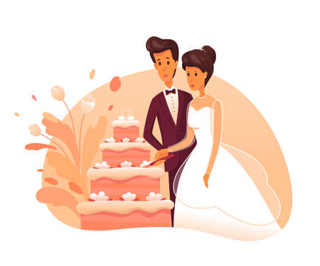 Bride and groom cut cake flat vector illustration. Newly married couple cartoon characters. Wedding celebration. Fiance in suit, fiancee in white dress. Romantic couple in love. Cake cutting ceremony